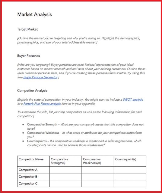 Business plan template market analysis