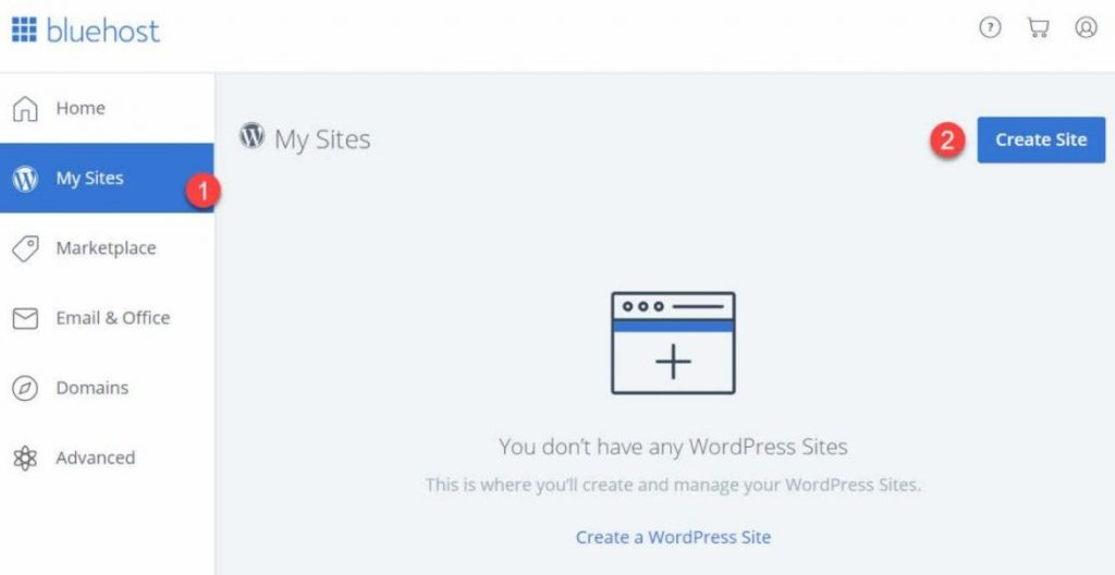 Create site on Bluehost